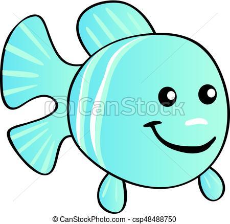 450x438 Happy Cartoon Light Blue Fish Clipart Vector