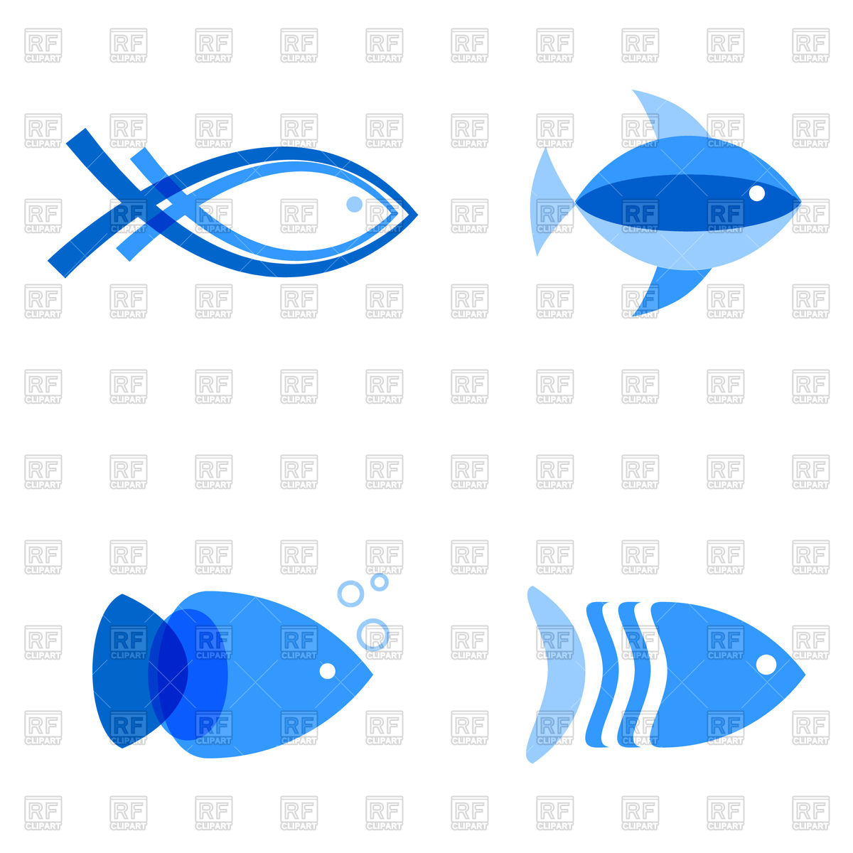 1200x1200 Set Of Blue Fish Icons Royalty Free Vector Clip Art Image