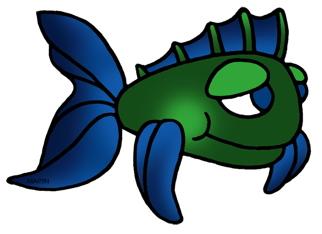 648x471 Animals Clip Art By Phillip Martin, Green And Blue Fish