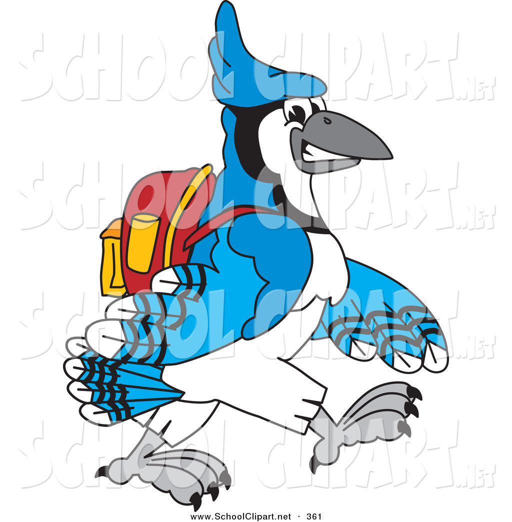 1024x1044 Clip Art Of A Blue Jay Character School Mascot Walking To School