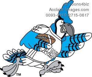 300x252 Clipart Cartoon Blue Jay Playing Football