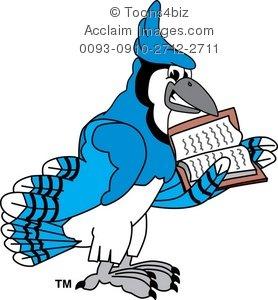 278x300 Clipart Cartoon Blue Jay Reading