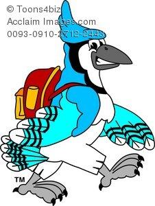 226x300 Clipart Cartoon Blue Jay Wearing A Backpack