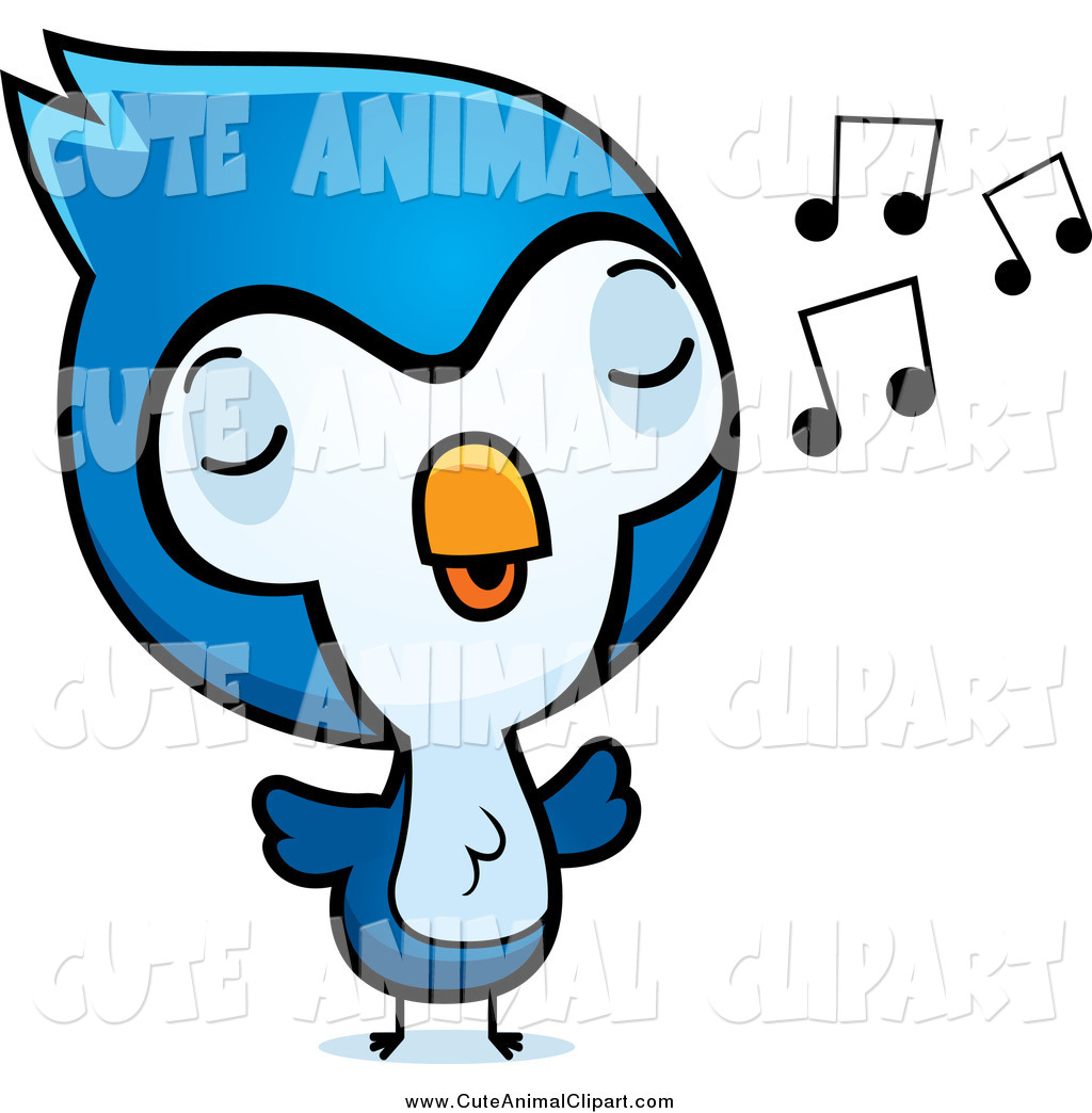 1024x1044 Vector Cartoon Clip Art Of A Cute Baby Bluejay Bird Whistling By