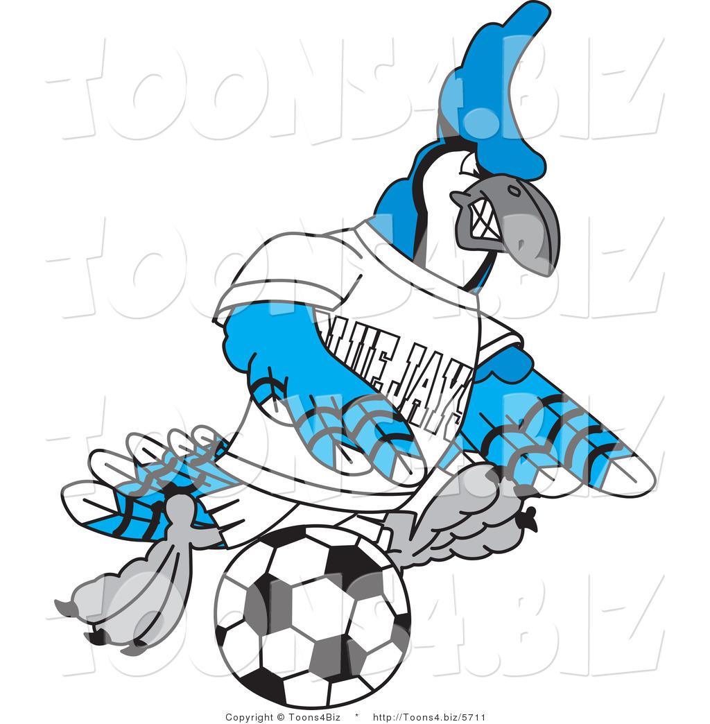 1024x1044 Vector Illustration Of A Cartoon Blue Jay Mascot Kicking A Soccer
