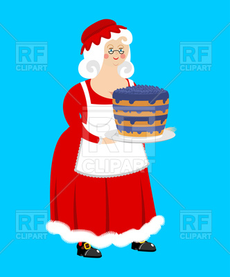 332x400 Mrs. Claus And Blueberry Cake Royalty Free Vector Clip Art Image