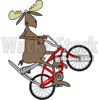 400x400 Clipart Of A Cartoon Moose Popping A Wheelie On A Stingray Bicycle