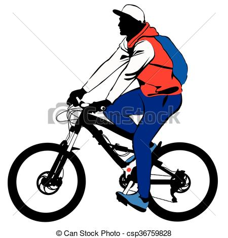 450x470 A Man With A Backpack Makes A Bike Tour Contour, Silhouette