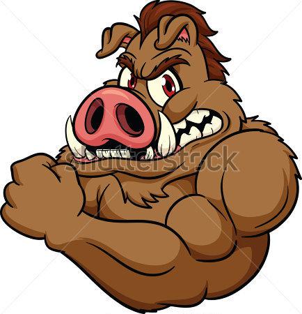 434x450 Cartoon Wild Boar Clip Art