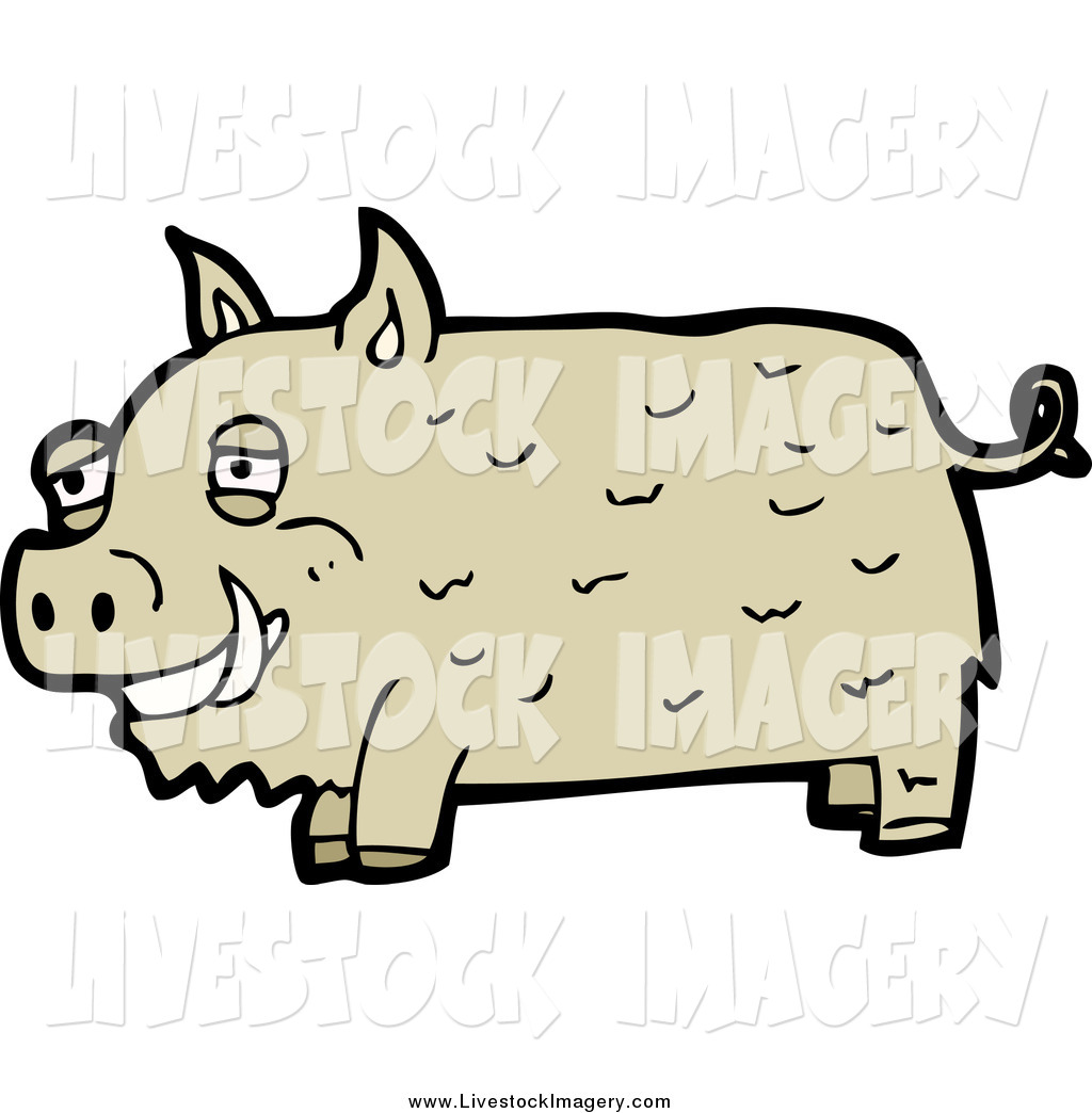 1024x1044 Clip Art Of A Brown Boar Pig By Lineartestpilot
