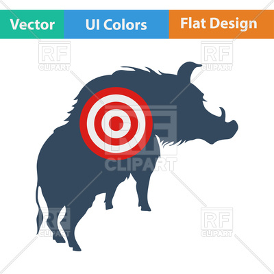 400x400 Flat Design Icon Of Boar Silhouette With Target In Ui Colors