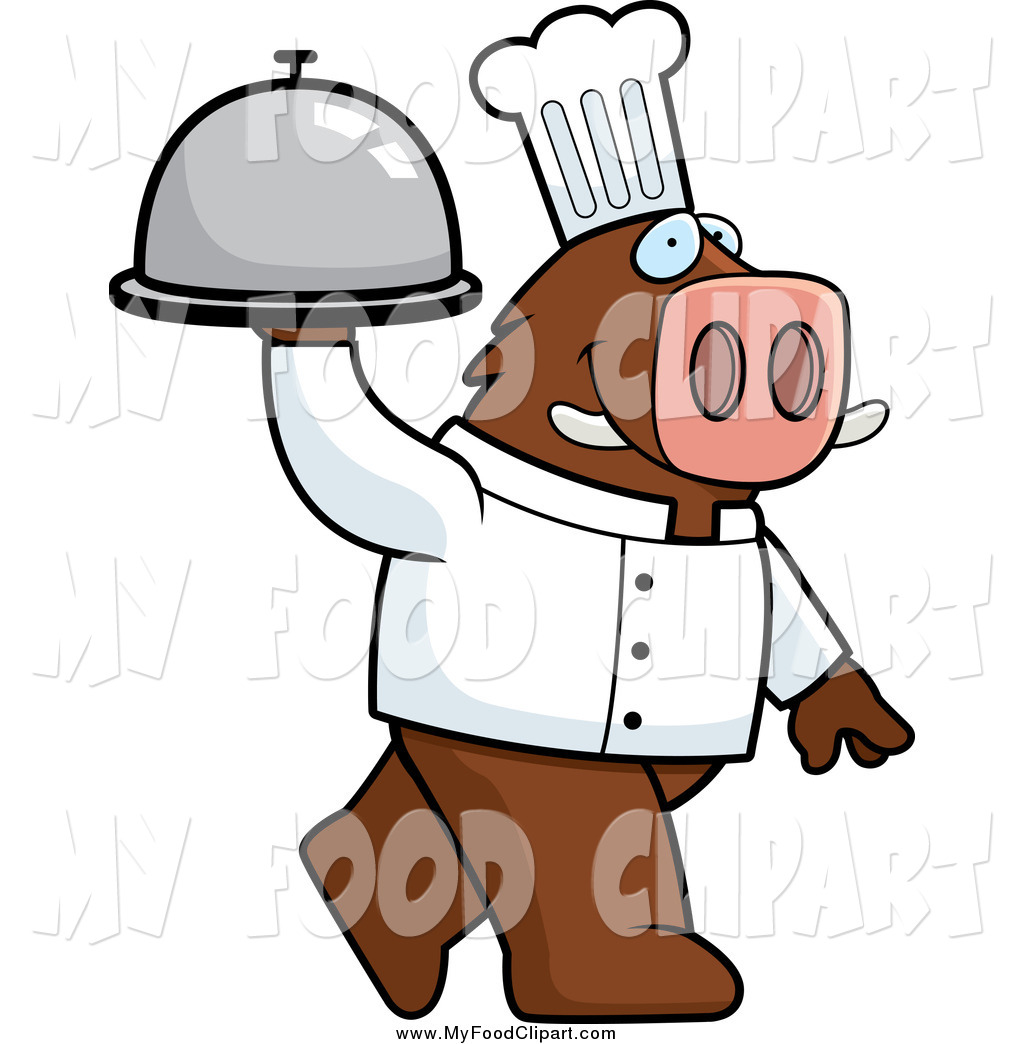1024x1044 Food Clip Art Of A Chef Boar Carrying A Covered Platter Cloche By