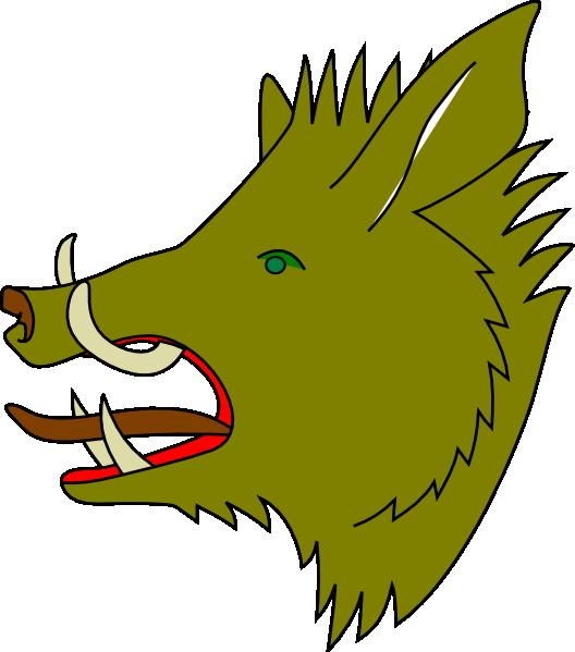 528x599 Green Boar Clip Art