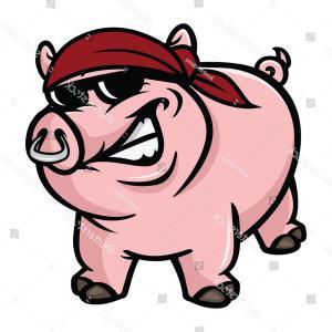 300x300 Pig Wild Boar Crashing Fence Vector Cartoon Clip Art Illustration