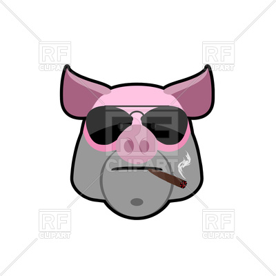 400x400 Angry Boar Head With Glasses And Cigarette Royalty Free Vector