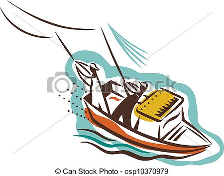 450x353 Two People On A Boat Catching Fish Stock Illustrations