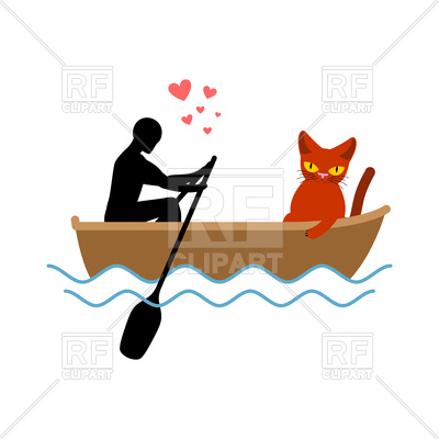 400x400 Cat Lover In Boat Royalty Free Vector Clip Art Image
