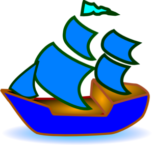 298x285 Blue Boat Clip Art