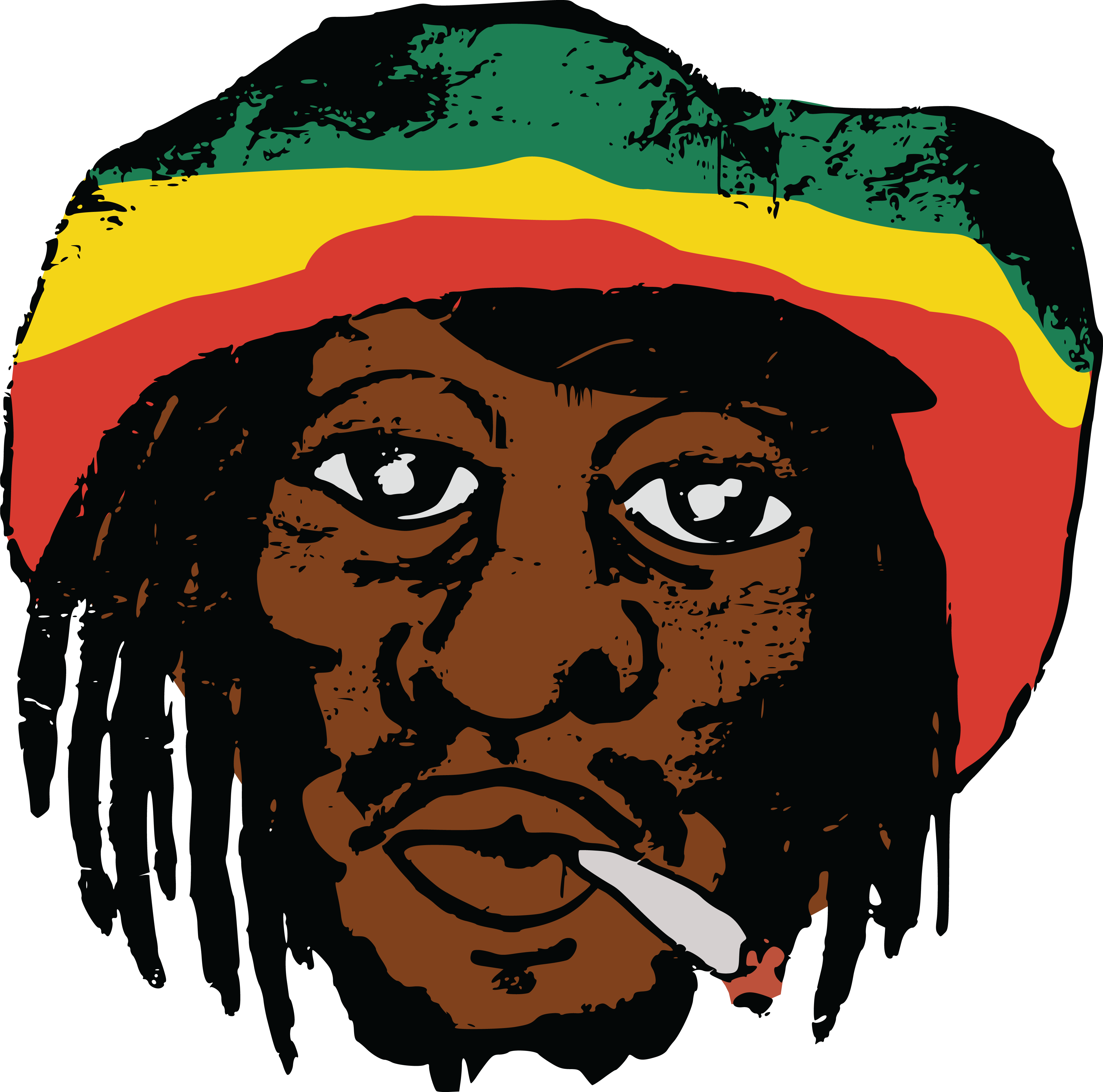4000x3963 Free Clipart Of A Portrait Of Bob Marly Smoking A Joint