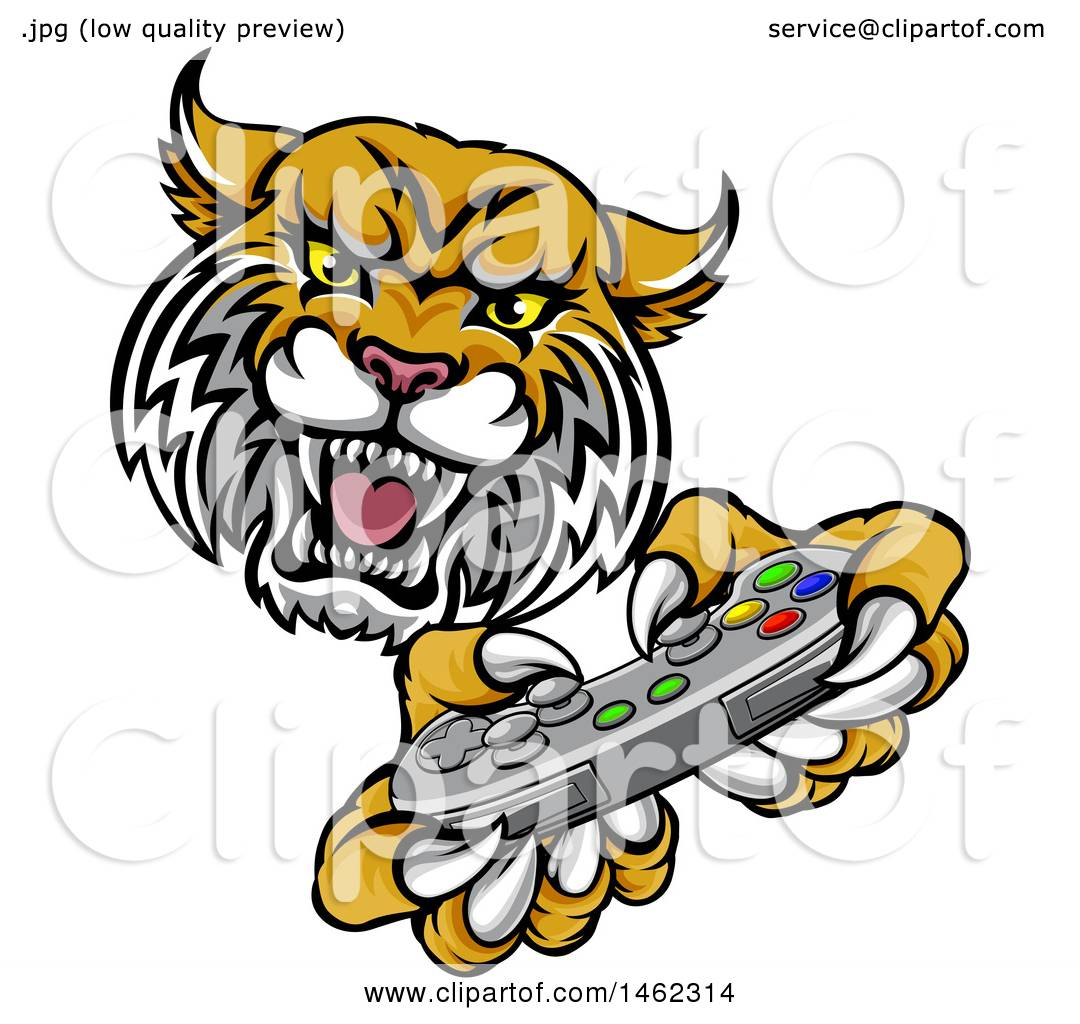 1080x1024 Clipart Of A Bobcat Mascot Playing A Video Game