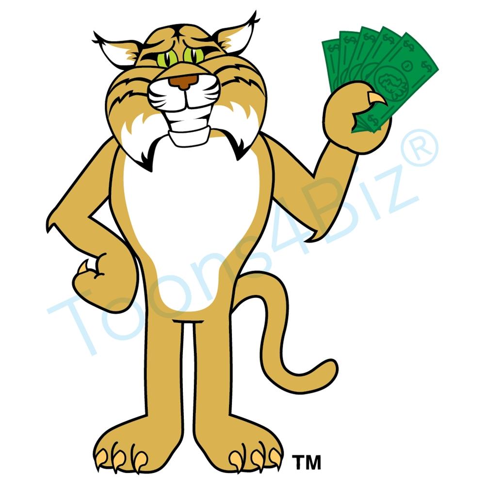 1000x1000 Bobcat Mascot Clip Art Holding Money Clip Art