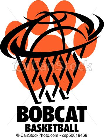 355x470 Bobcat Basketball Team Design With Ball And Net Inside Paw Clip