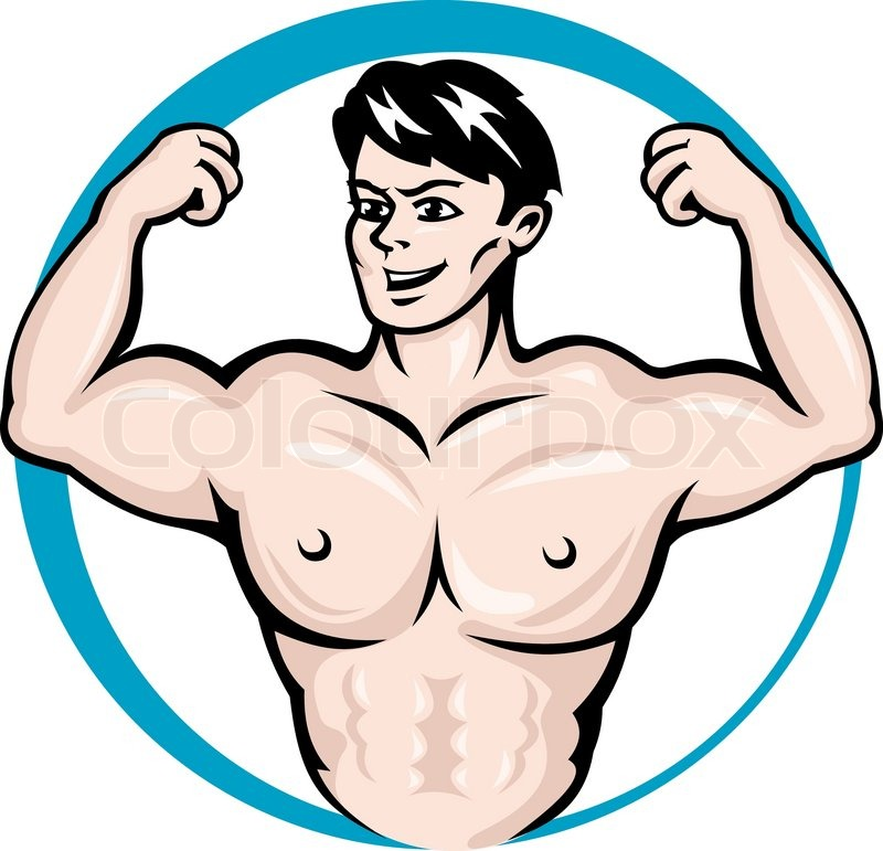 800x771 Bodybuilder Man With Muscles For Sports And Fitness Design Stock