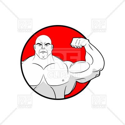 400x400 Bodybuilder With Big Muscles, Emblem Of Gym Royalty Free Vector