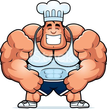431x439 Cartoon Bodybuilding Chef Stock Vector