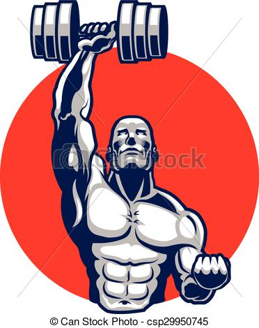 372x470 Muscular Body Builder Mascot. Vector Illustration Of Eps Vector