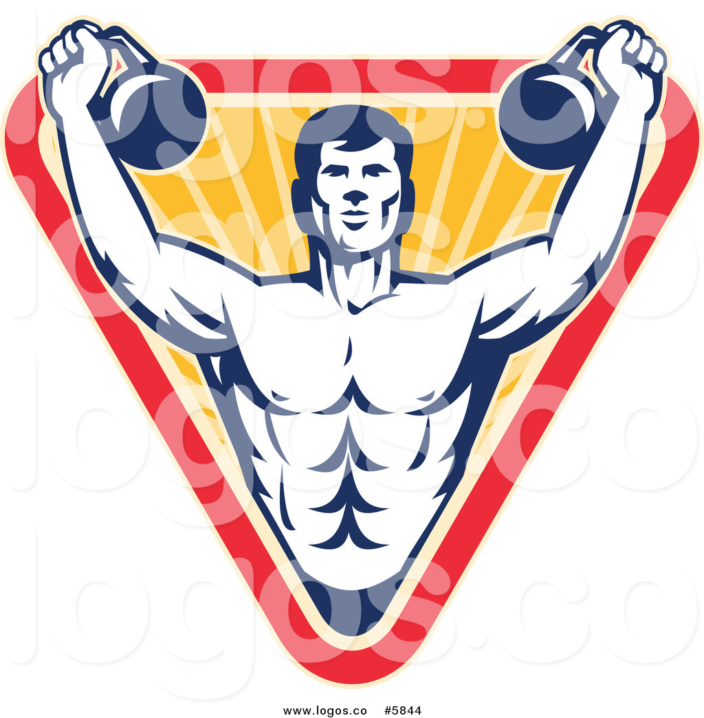 1024x1044 Royalty Free Vector Of A Logo Of A Male Bodybuilder Using Kettle