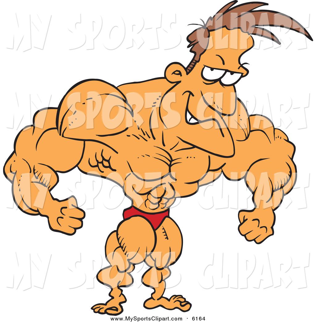 1024x1044 Sports Clip Art Of A Cartoon Caucasian Bodybuilder Flexing By