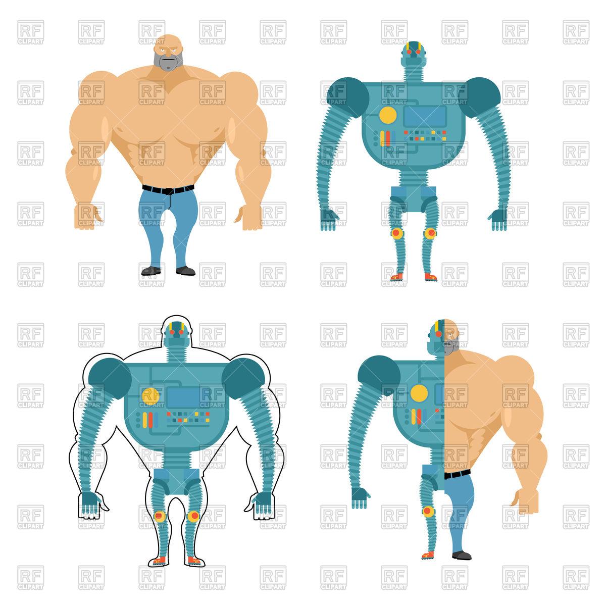1200x1200 Set Of Cyborgs. Robot In Human Body. Royalty Free Vector Clip Art