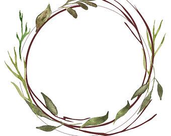 340x270 Bohemian Clipart Boho Wreath Watercolor Wreath Feathers Blue