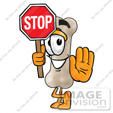450x450 Clip Art Graphic Of A Bone Cartoon Character Holding A Stop Sign