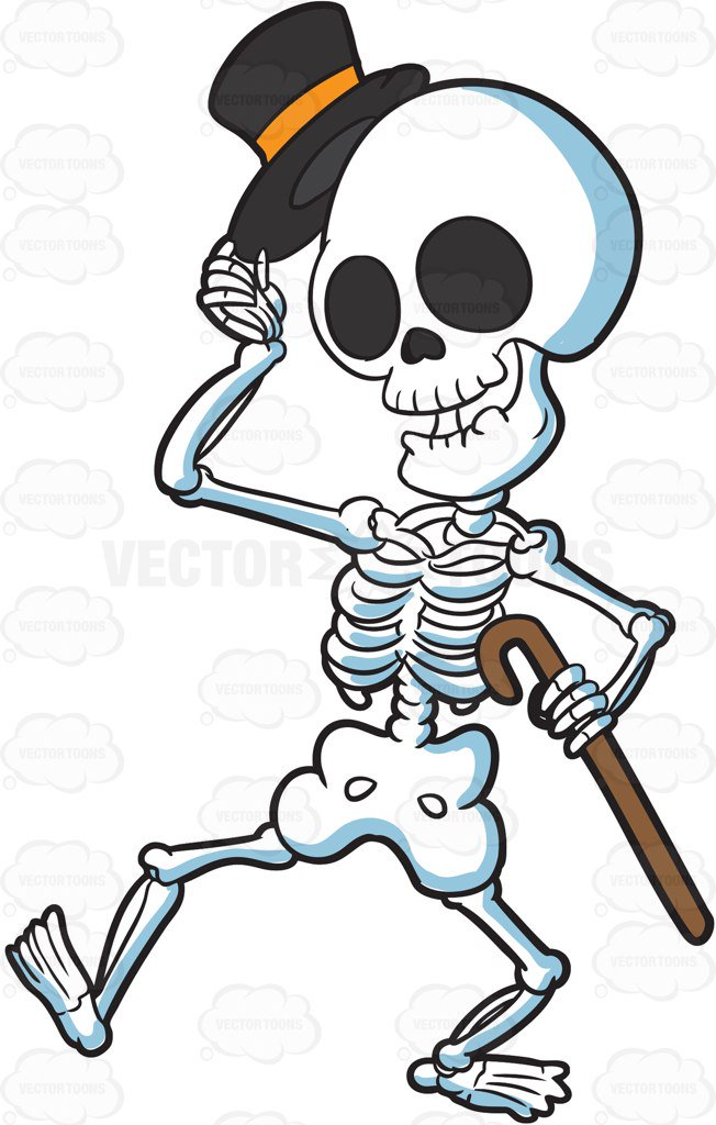 652x1024 A Skeleton Looking Refined And Respectful Cartoon Clipart Vector
