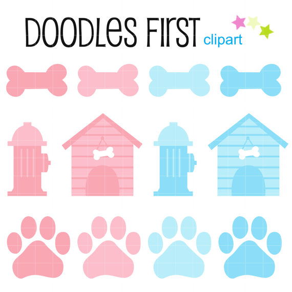 570x570 Dog Bones And Paws Pastels Digital Clip Art For Scrapbooking