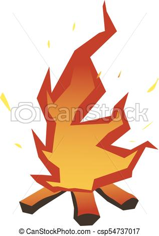 317x470 Campfire, Fire Over Wood Logs. Vector Illustration, Isolated