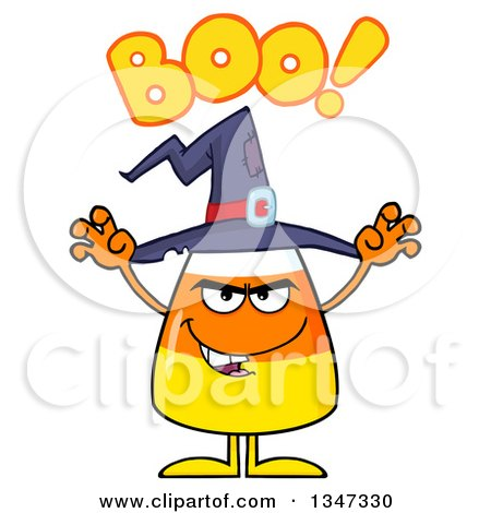 450x470 Clipart Of Cartoon Halloween Candy Corn Character Wearing