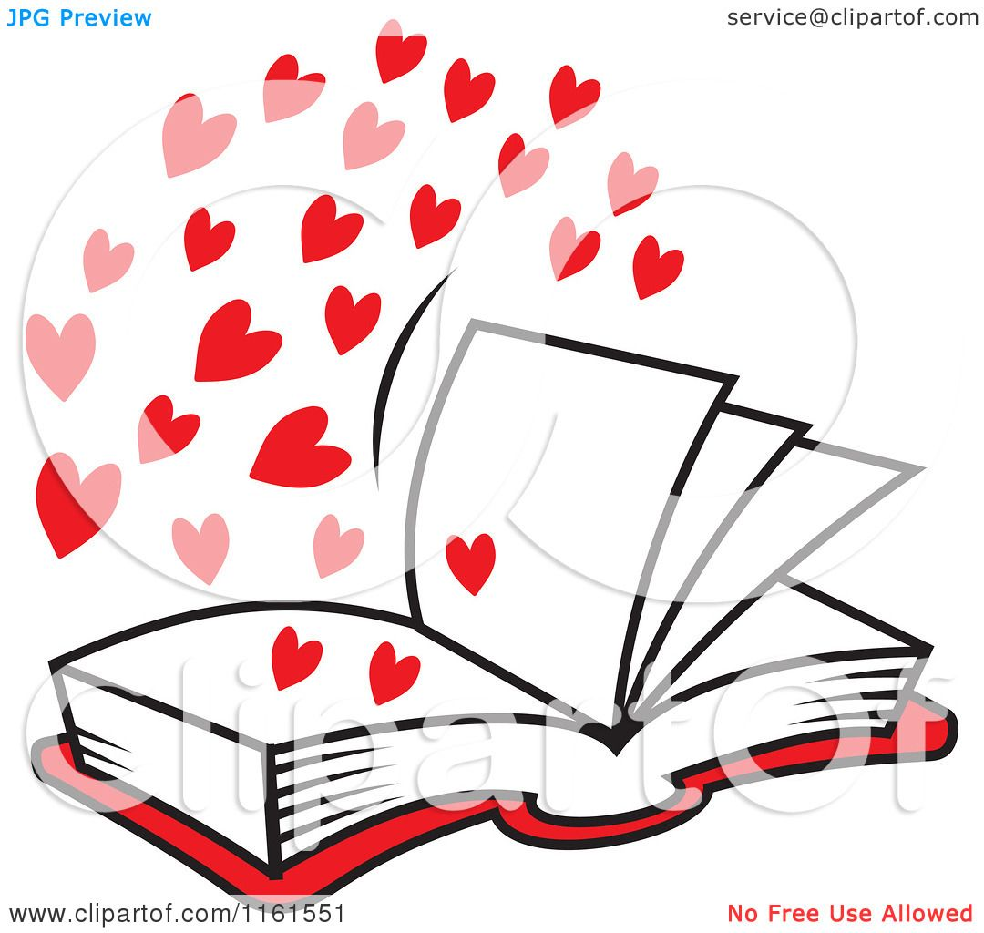 1080x1024 Cartoon Of An Open Book Of Love With Red Hearts