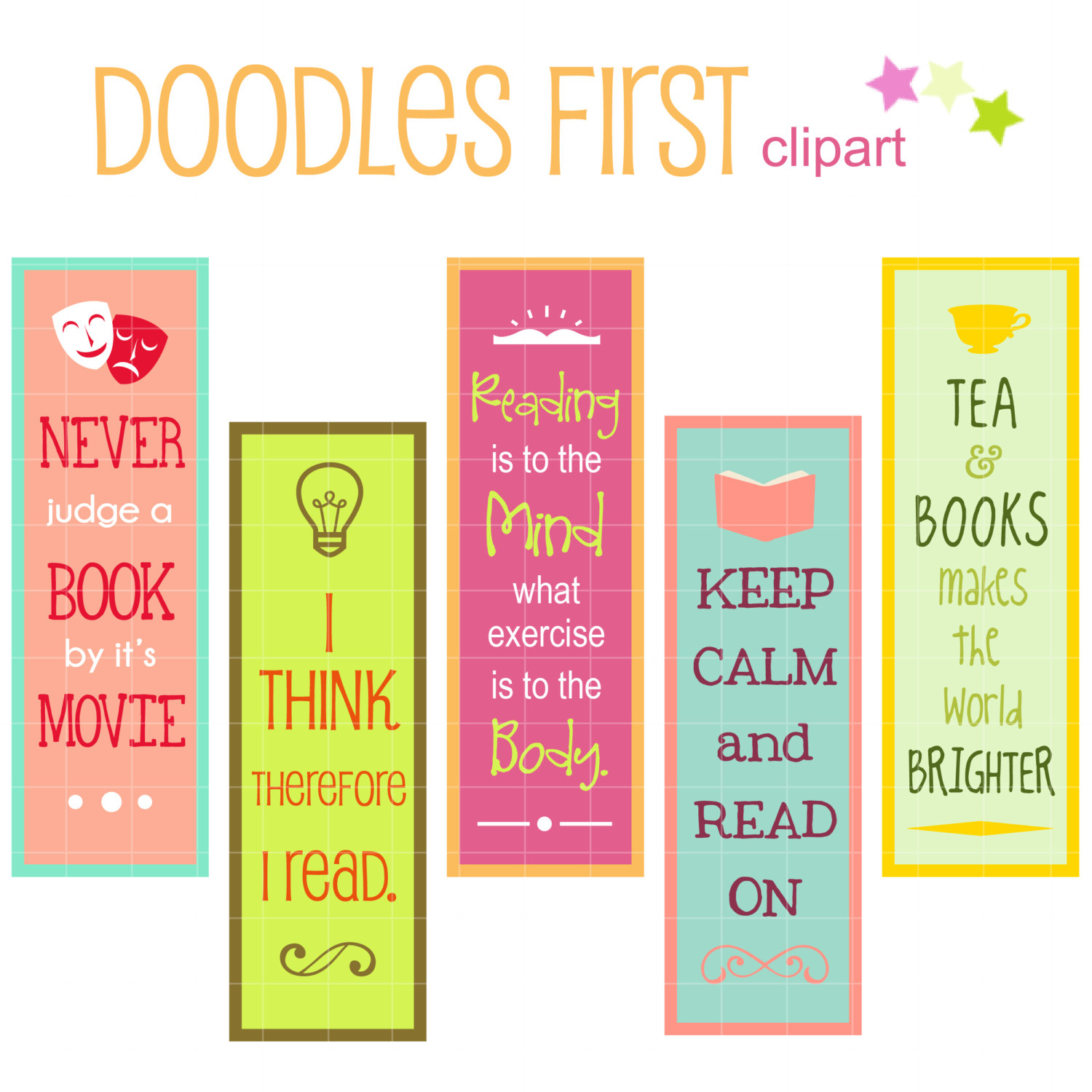 1500x1500 Reading Quotes Bookmarks Digital Clip Art For By Doodlesfirst