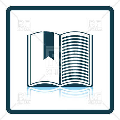 400x400 Shadow Reflection Icon Of Open Book With Bookmark Royalty Free