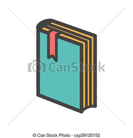 450x470 Standing Book With Bookmark Icon. Vector Illustration Clipart