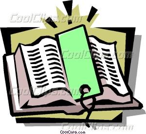 300x276 Book With Bookmark Vector Clip Art