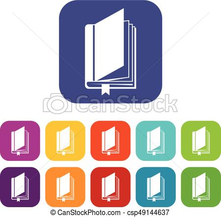 450x441 Book With Bookmark Icons Set Vector Illustration In Flat