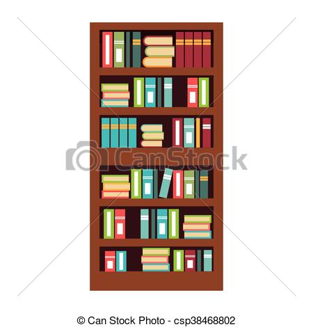 450x470 Home Library With Books Isolated Flat Icon, Vector Vector