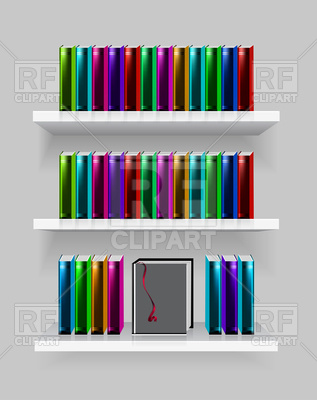 317x400 Modern Bookshelf With Books Royalty Free Vector Clip Art Image