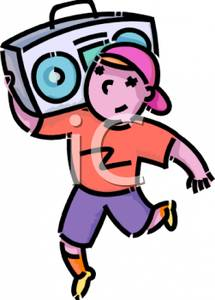 215x300 A Colorful Cartoon Of A Boy Listening To Music On A Boombox