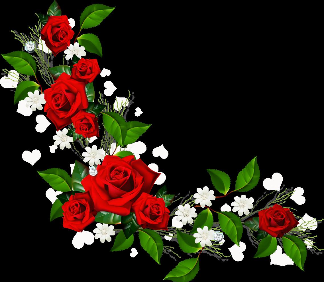 1137x987 Red Flowers Clip Art Border