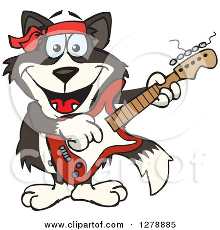 450x470 Clipart Of A Happy Border Collie Dog Playing An Acoustic Guitar